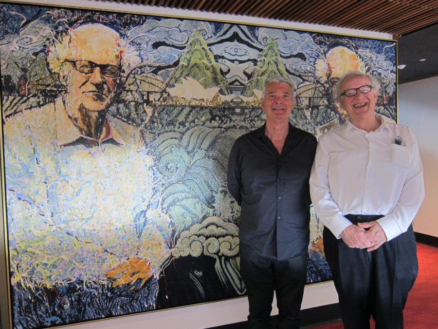 Richard Blundell's portrait of Professor Colin Mackerras was unveiled on Friday 2nd October 2015, in its new home at the Colin Mackerras Room at the Griffith Asia Institute (Nathan Campus, Griffith University).