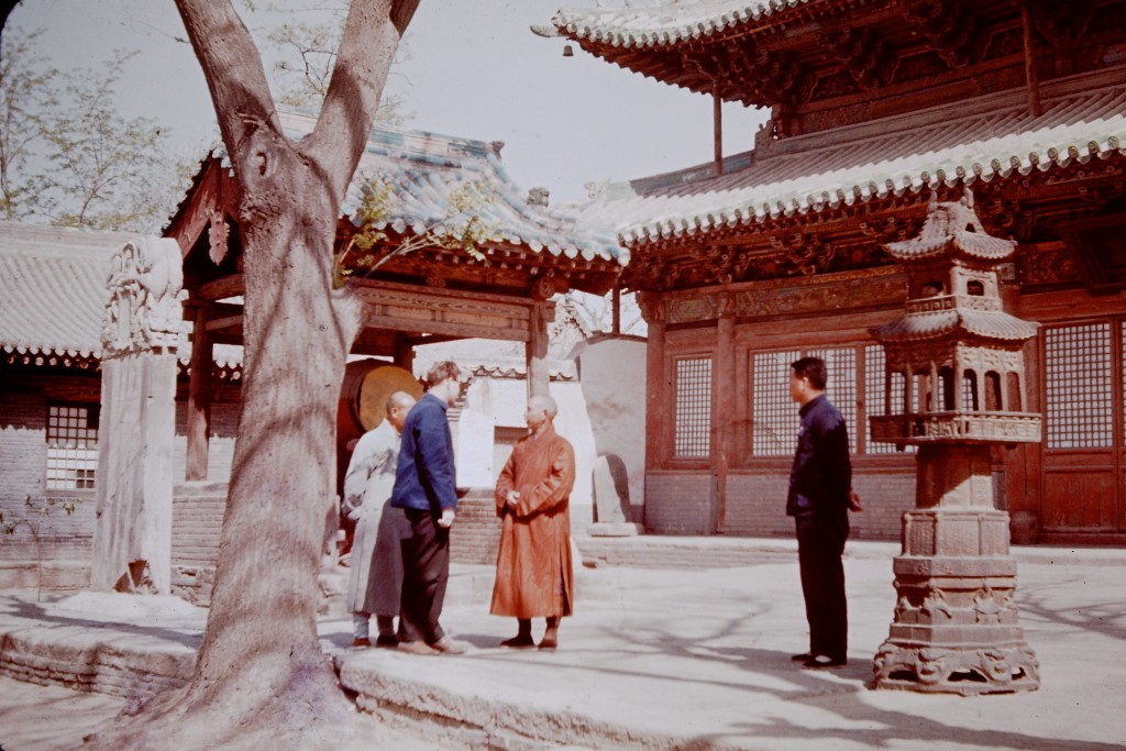 Beijing people and scenery 1965-6. Colin Mackerras talking to a monk in Beijing