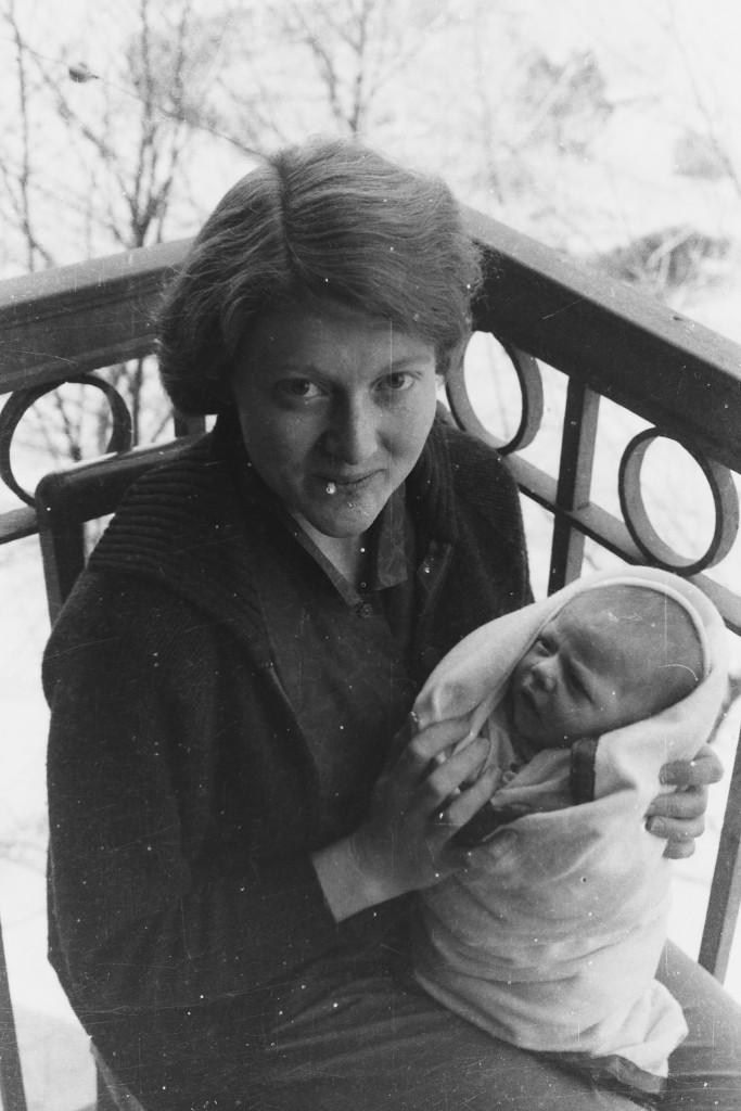 Alyce with newborn in Beijing 1965.
