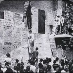 Revolutionary DAZIBAO taking over the streets and scenery of China 1967