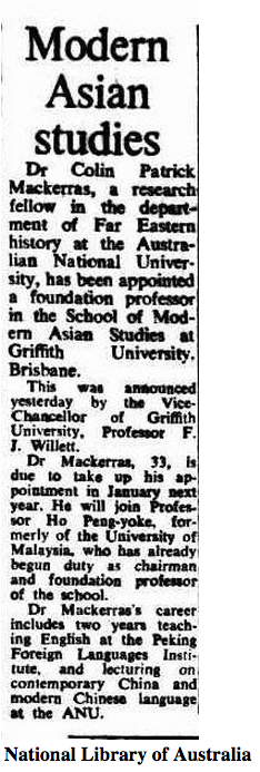 Colin_Mackerras's appointment announced in The Canberra Times, Tuesday 31 July 1973, p. 9