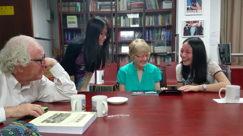 Students (Vera and Iris) at Renmin University talking with Colin and Alyce about China in the 1960s