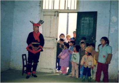 Yao  women in full traditional dressEarly 1992 in a village near Jinxiu, Guangxi