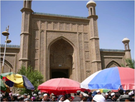 Entrance of Hotan Mosque beside the city's busy market square
