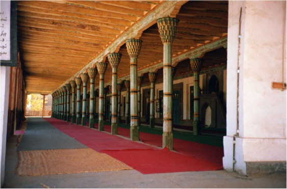 The main prayer-hall of the beautiful mosque in Yutian, southwest Xinjiang. Note the elaborate designs at the top of the columns.